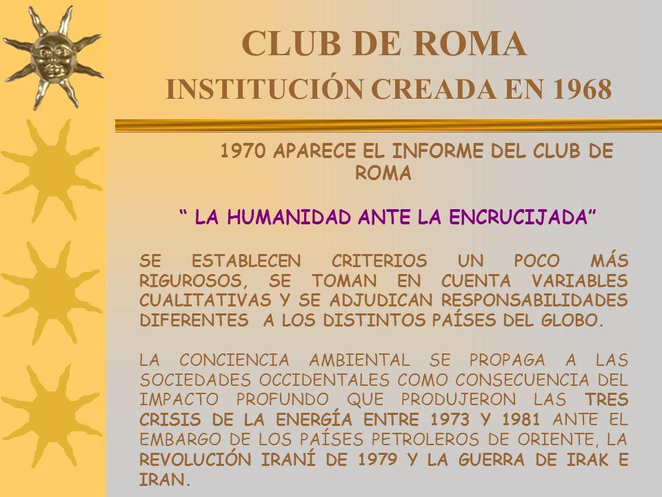 CLUB DE ROMA INSTITUCIÓN CREADA EN 1968 1970 APARECE EL INFORME DEL CLUB DE ROMA LA HUMANIDAD ANTE LA ENCRUCIJADA SE ESTABLECEN CRITERIOS UN POCO MÁS