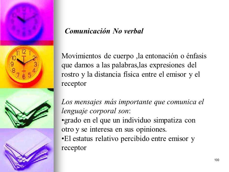 100 Comunicación No verbal Movimientos de cuerpo,la entonación o énfasis que damos a las palabras,las expresiones del rostro y la distancia física ent
