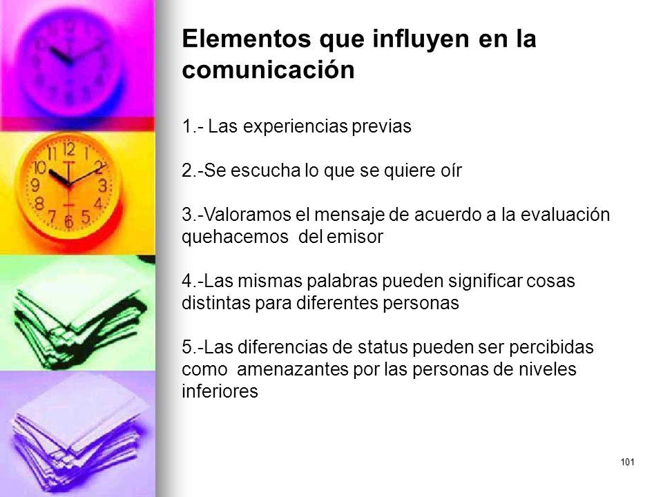 101 Elementos que influyen en la comunicación 1.- Las experiencias previas 2.-Se escucha lo que se quiere oír 3.-Valoramos el mensaje de acuerdo a la