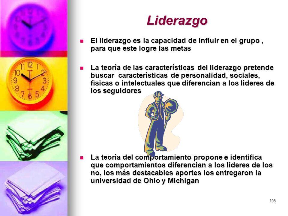 103 Liderazgo El liderazgo es la capacidad de influir en el grupo, para que este logre las metas El liderazgo es la capacidad de influir en el grupo,