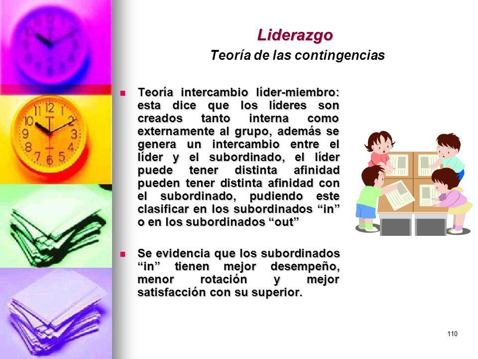 110 Liderazgo Liderazgo Teoría de las contingencias Teoría intercambio líder-miembro: esta dice que los líderes son creados tanto interna como externa