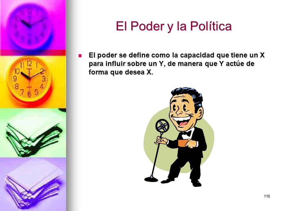 116 El Poder y la Política El poder se define como la capacidad que tiene un X para influir sobre un Y, de manera que Y actúe de forma que desea X. El