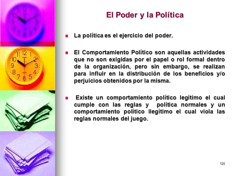 120 El Poder y la Política La política es el ejercicio del poder. La política es el ejercicio del poder. El Comportamiento Político son aquellas activ