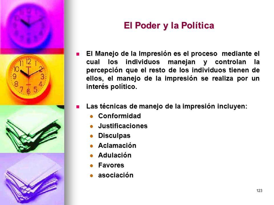 123 El Poder y la Política El Manejo de la Impresión es el proceso mediante el cual los individuos manejan y controlan la percepción que el resto de l