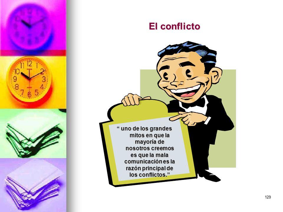 129 El conflicto uno de los grandes mitos en que la mayoría de nosotros creemos es que la mala comunicación es la razón principal de los conflictos. u