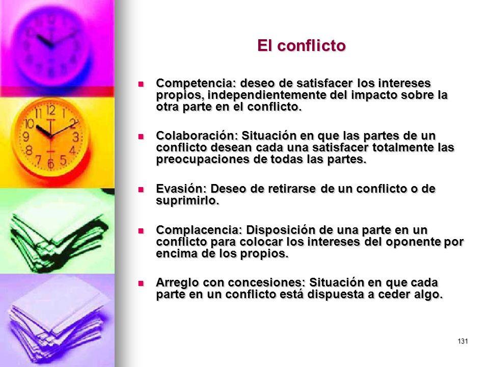 131 El conflicto Competencia: deseo de satisfacer los intereses propios, independientemente del impacto sobre la otra parte en el conflicto. Competenc