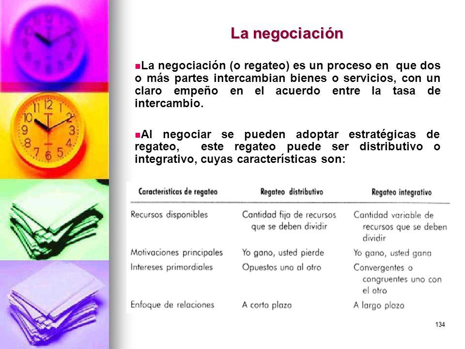 134 La negociación La negociación (o regateo) es un proceso en que dos o más partes intercambian bienes o servicios, con un claro empeño en el acuerdo