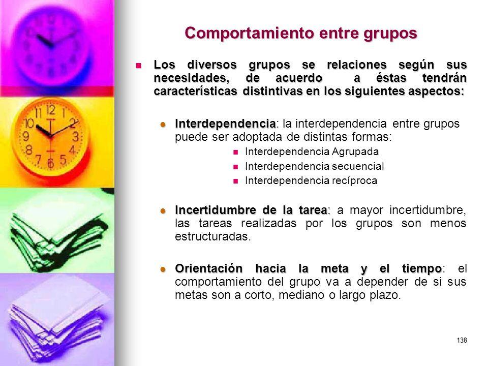 138 Comportamiento entre grupos Los diversos grupos se relaciones según sus necesidades, de acuerdo a éstas tendrán características distintivas en los