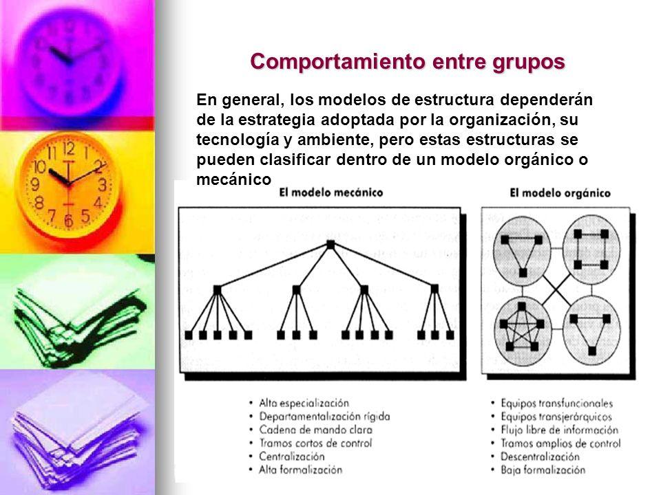 145 Comportamiento entre grupos En general, los modelos de estructura dependerán de la estrategia adoptada por la organización, su tecnología y ambien