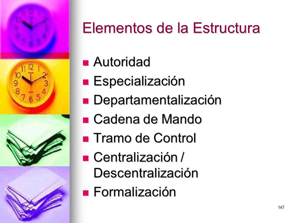 147 Elementos de la Estructura Autoridad Autoridad Especialización Especialización Departamentalización Departamentalización Cadena de Mando Cadena de