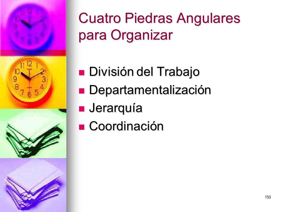 150 Cuatro Piedras Angulares para Organizar División del Trabajo División del Trabajo Departamentalización Departamentalización Jerarquía Jerarquía Co
