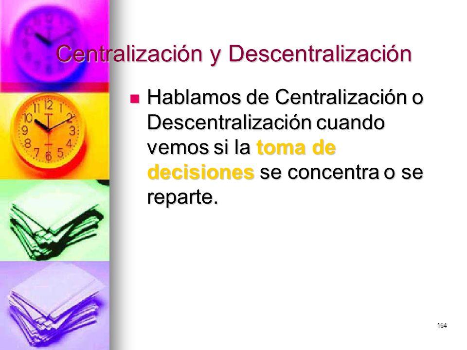 164 Centralización y Descentralización Hablamos de Centralización o Descentralización cuando vemos si la toma de decisiones se concentra o se reparte.