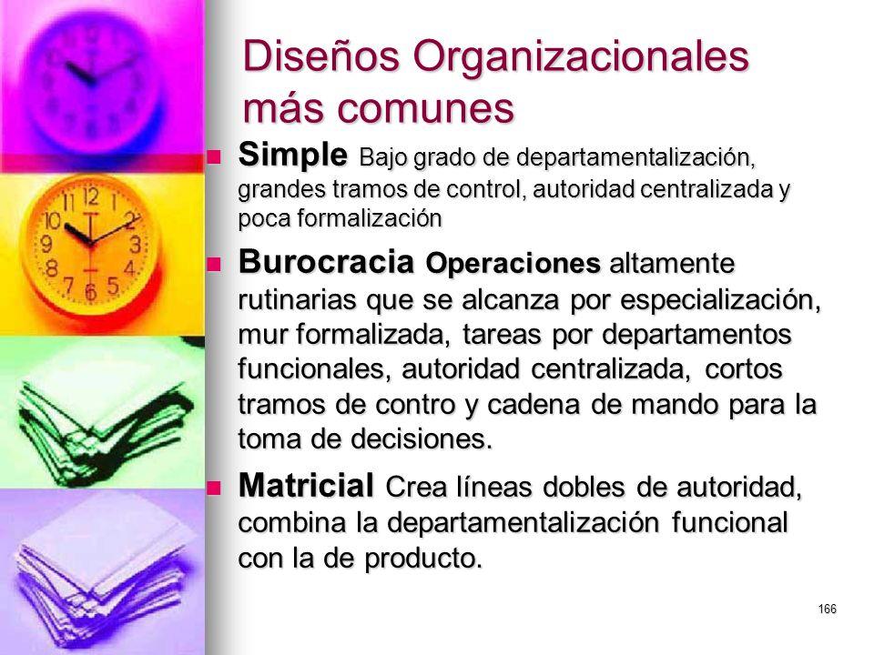 166 Diseños Organizacionales más comunes Simple Bajo grado de departamentalización, grandes tramos de control, autoridad centralizada y poca formaliza