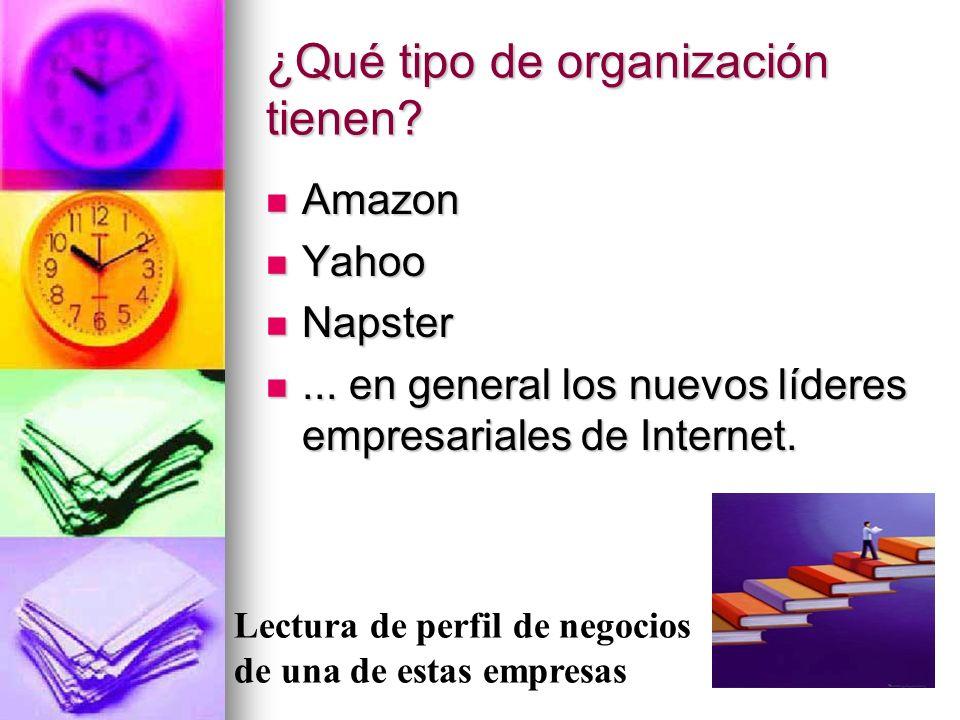 169 ¿Qué tipo de organización tienen? Amazon Amazon Yahoo Yahoo Napster Napster... en general los nuevos líderes empresariales de Internet.... en gene
