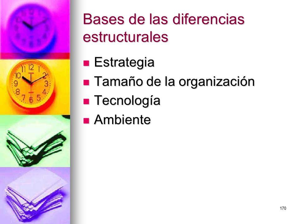 170 Bases de las diferencias estructurales Estrategia Estrategia Tamaño de la organización Tamaño de la organización Tecnología Tecnología Ambiente Am