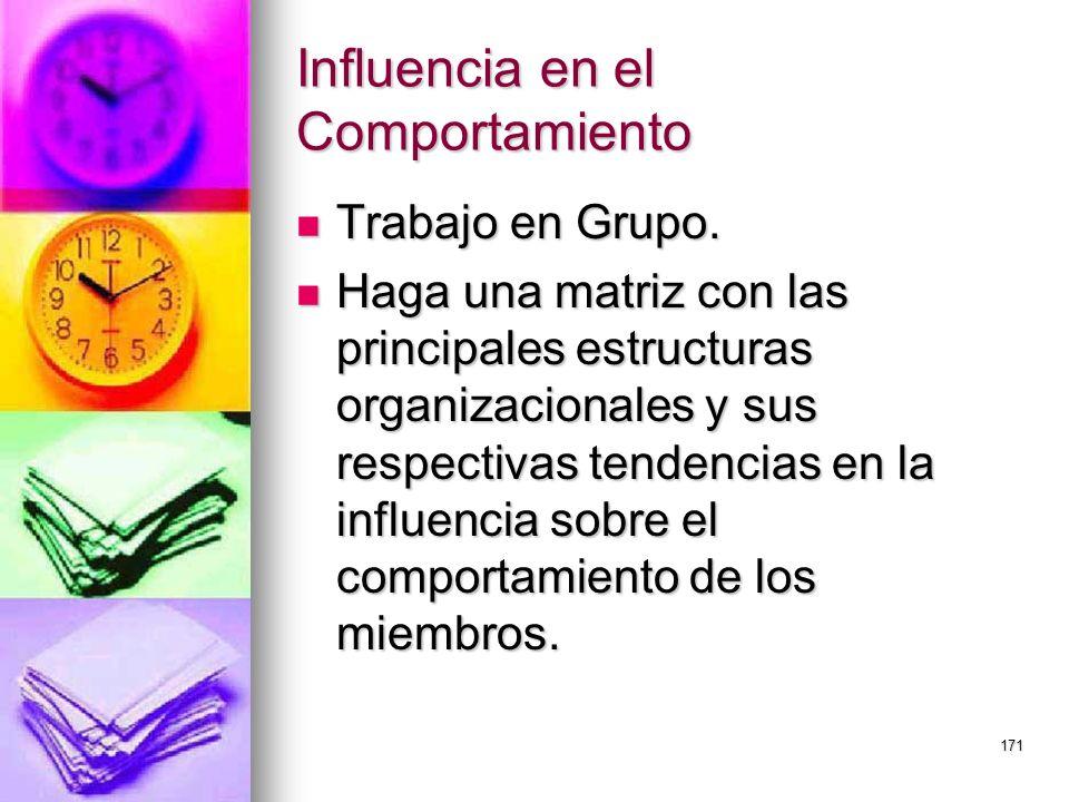 171 Influencia en el Comportamiento Trabajo en Grupo. Trabajo en Grupo. Haga una matriz con las principales estructuras organizacionales y sus respect