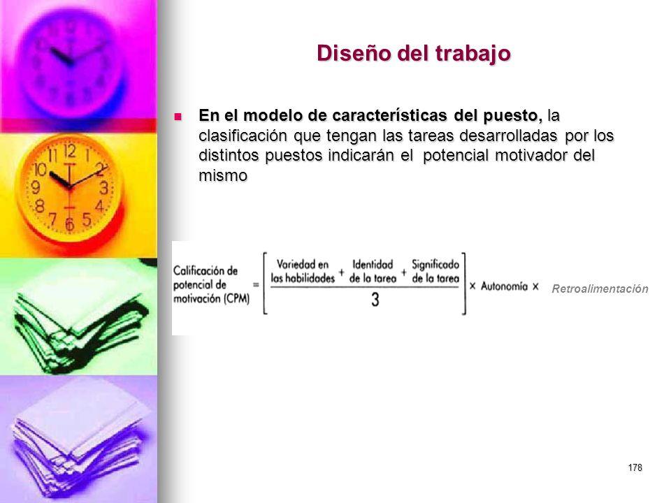 178 Diseño del trabajo En el modelo de características del puesto, la clasificación que tengan las tareas desarrolladas por los distintos puestos indi