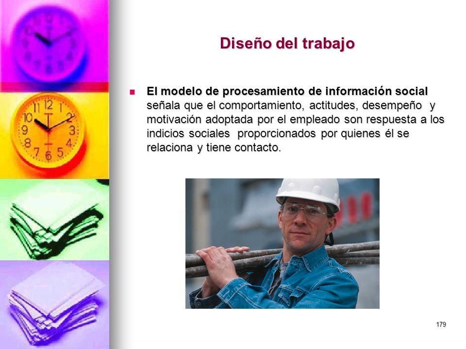 179 Diseño del trabajo El modelo de procesamiento de información social señala que el comportamiento, actitudes, desempeño y motivación adoptada por e