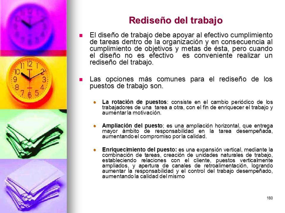 180 Rediseño del trabajo El diseño de trabajo debe apoyar al efectivo cumplimiento de tareas dentro de la organización y en consecuencia al cumplimien