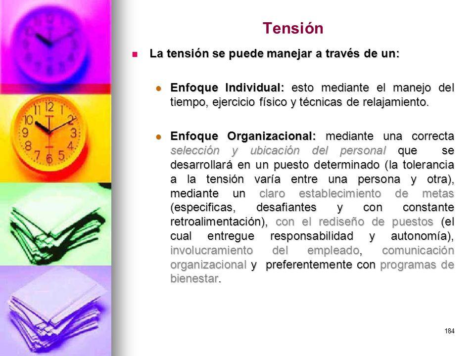 184 Tensión La tensión se puede manejar a través de un: La tensión se puede manejar a través de un: Enfoque Individual: esto mediante el manejo del ti