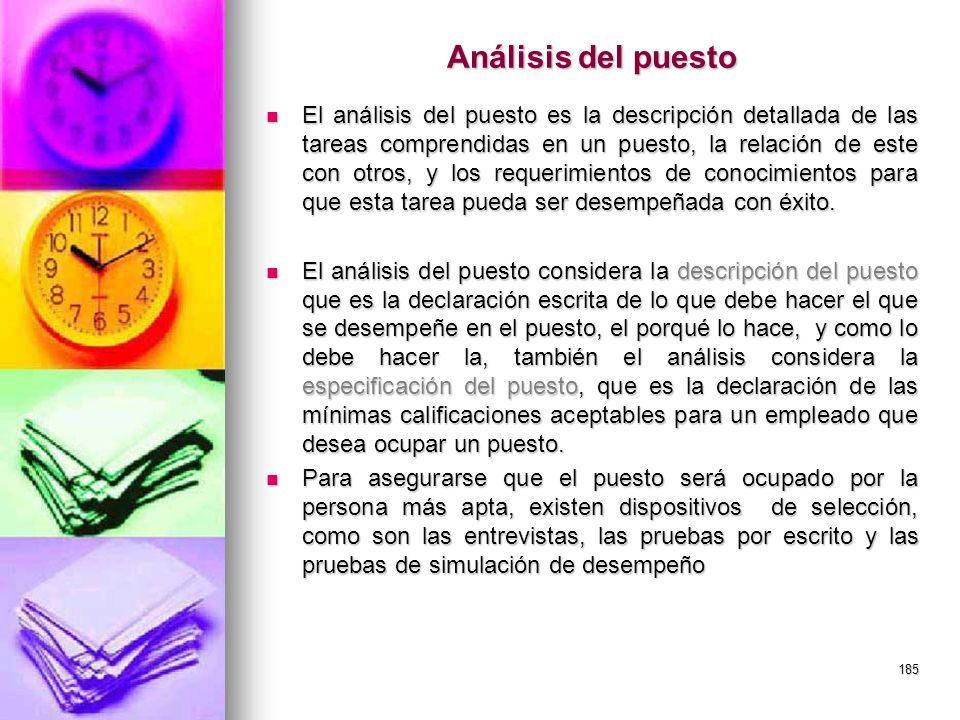 185 Análisis del puesto El análisis del puesto es la descripción detallada de las tareas comprendidas en un puesto, la relación de este con otros, y l
