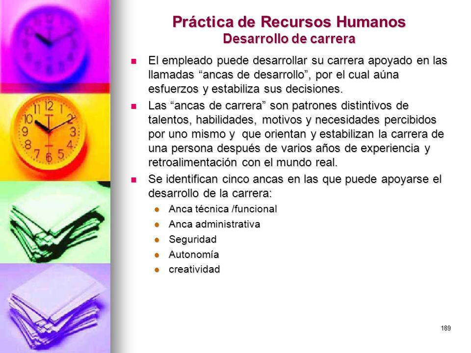 189 Práctica de Recursos Humanos Desarrollo de carrera El empleado puede desarrollar su carrera apoyado en las llamadas ancas de desarrollo, por el cu