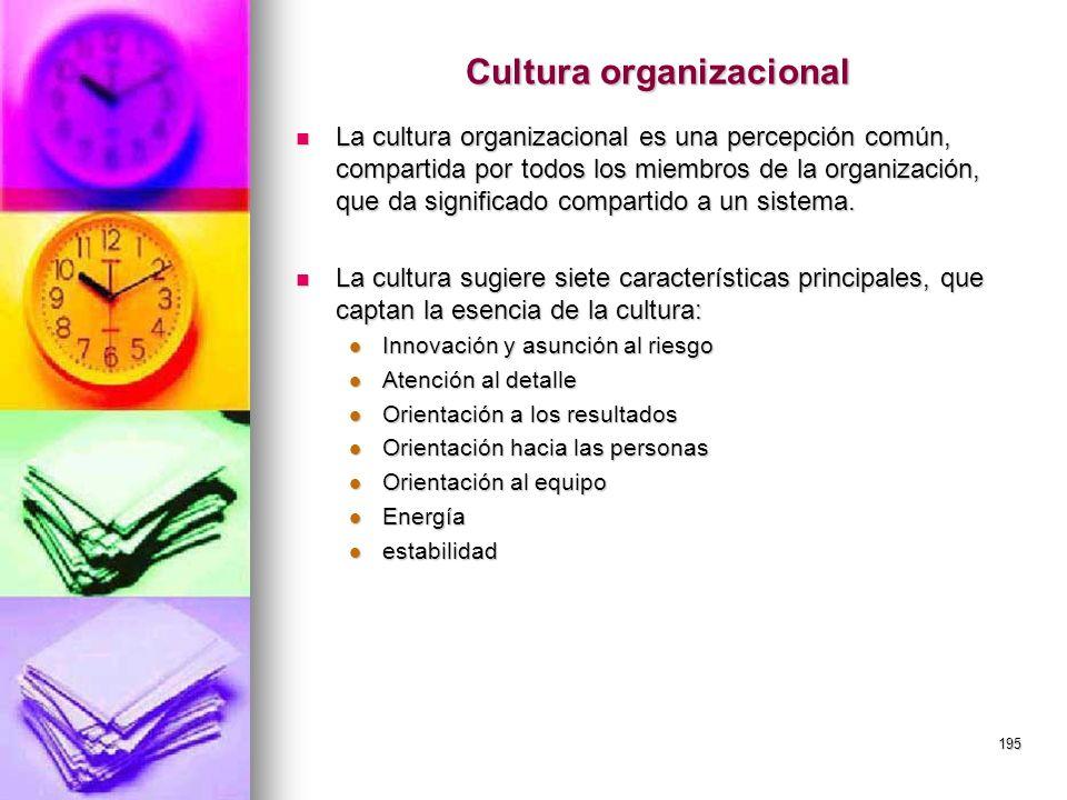 195 Cultura organizacional La cultura organizacional es una percepción común, compartida por todos los miembros de la organización, que da significado