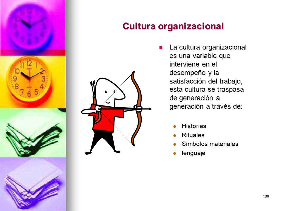 198 Cultura organizacional La cultura organizacional es una variable que interviene en el desempeño y la satisfacción del trabajo, esta cultura se tra