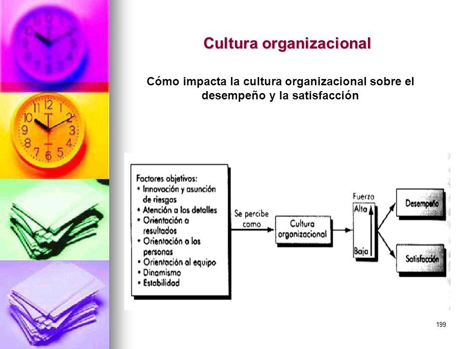 199 Cultura organizacional Cómo impacta la cultura organizacional sobre el desempeño y la satisfacción