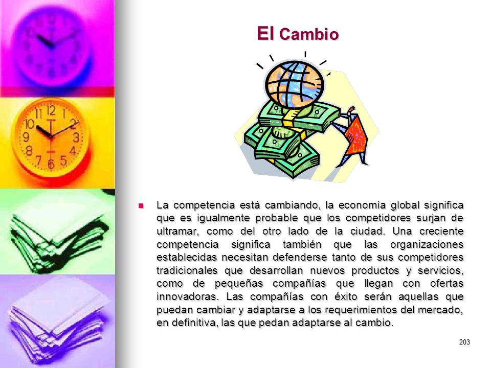 203 El Cambio La competencia está cambiando, la economía global significa que es igualmente probable que los competidores surjan de ultramar, como del