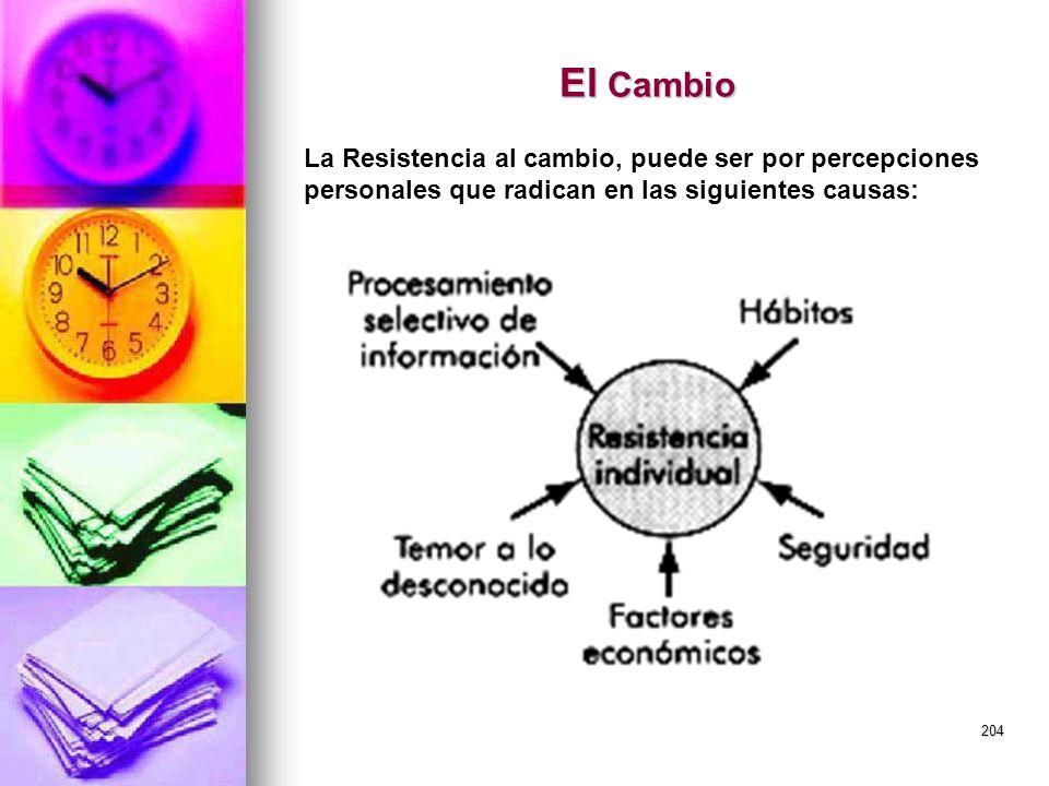 204 El Cambio La Resistencia al cambio, puede ser por percepciones personales que radican en las siguientes causas: