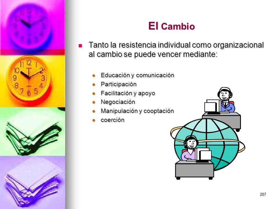 207 El Cambio Tanto la resistencia individual como organizacional al cambio se puede vencer mediante: Tanto la resistencia individual como organizacio