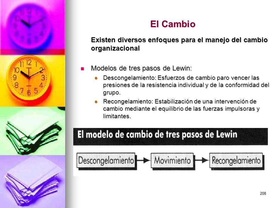 208 El Cambio Existen diversos enfoques para el manejo del cambio organizacional Modelos de tres pasos de Lewin: Modelos de tres pasos de Lewin: Desco