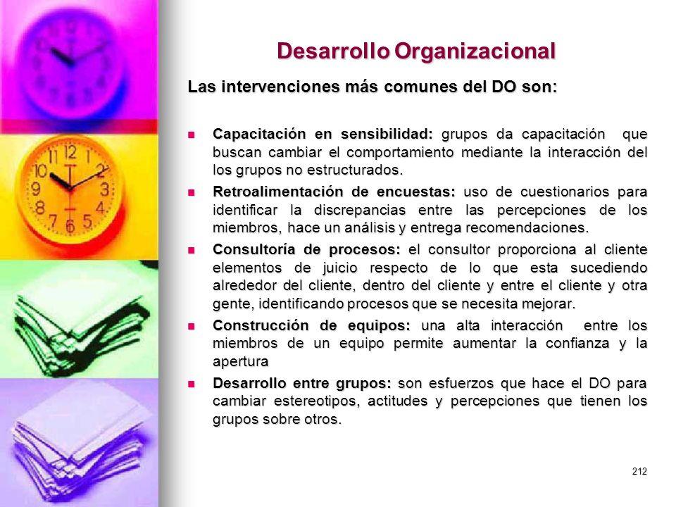 212 Desarrollo Organizacional Las intervenciones más comunes del DO son: Capacitación en sensibilidad: grupos da capacitación que buscan cambiar el co