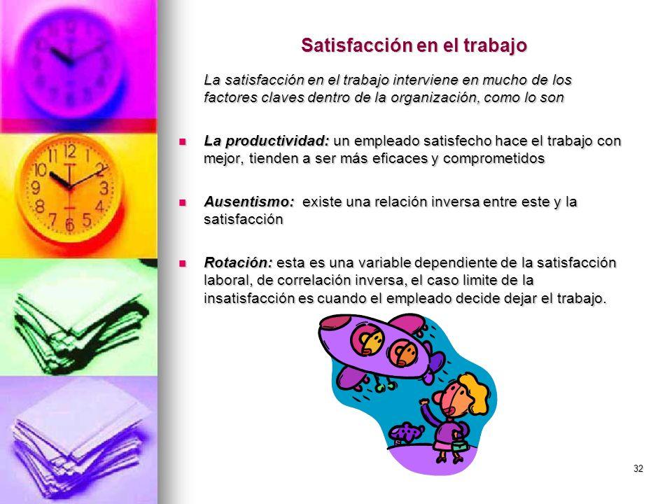 32 Satisfacción en el trabajo La satisfacción en el trabajo interviene en mucho de los factores claves dentro de la organización, como lo son La produ