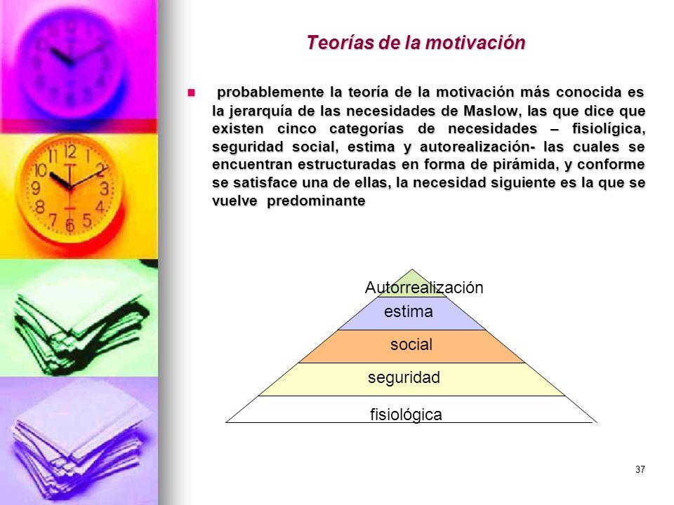 37 Teorías de la motivación probablemente la teoría de la motivación más conocida es la jerarquía de las necesidades de Maslow, las que dice que exist
