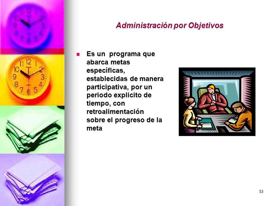 53 Administración por Objetivos Es un programa que abarca metas específicas, establecidas de manera participativa, por un periodo explicito de tiempo,