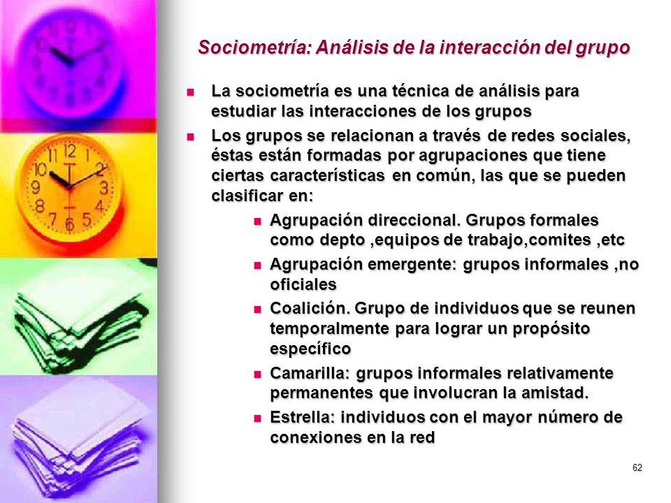 62 Sociometría: Análisis de la interacción del grupo La sociometría es una técnica de análisis para estudiar las interacciones de los grupos La sociom