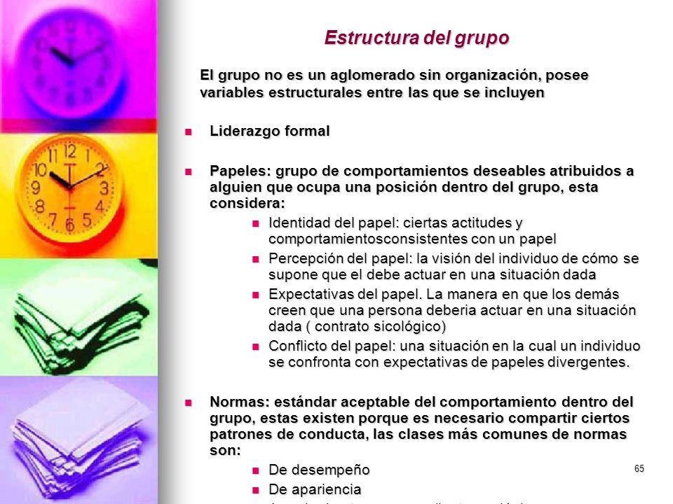 65 Estructura del grupo Liderazgo formal Liderazgo formal Papeles: grupo de comportamientos deseables atribuidos a alguien que ocupa una posición dent