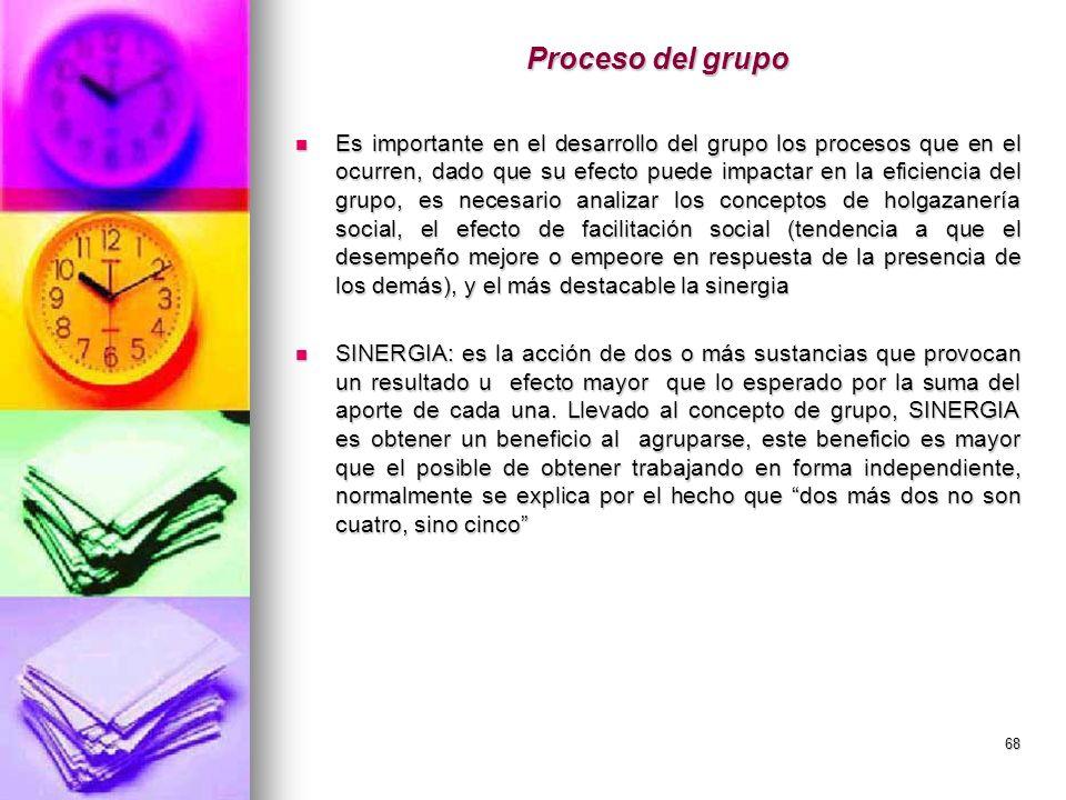 68 Proceso del grupo Es importante en el desarrollo del grupo los procesos que en el ocurren, dado que su efecto puede impactar en la eficiencia del g