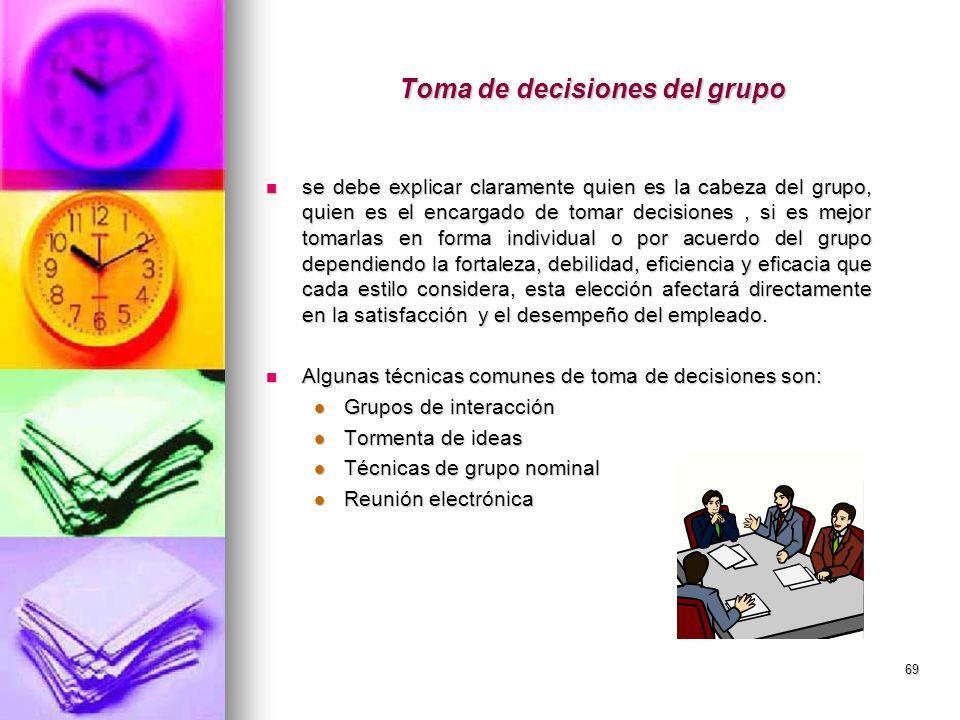 69 Toma de decisiones del grupo se debe explicar claramente quien es la cabeza del grupo, quien es el encargado de tomar decisiones, si es mejor tomar