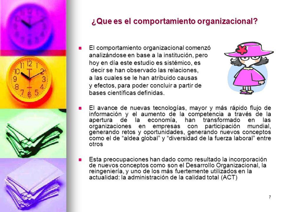 7 ¿Que es el comportamiento organizacional? El comportamiento organizacional comenzó El comportamiento organizacional comenzó analizándose en base a l