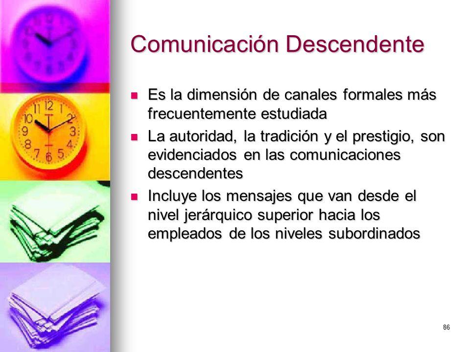 86 Comunicación Descendente Es la dimensión de canales formales más frecuentemente estudiada Es la dimensión de canales formales más frecuentemente es