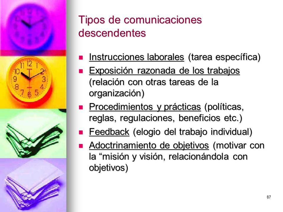 87 Tipos de comunicaciones descendentes Instrucciones laborales (tarea específica) Instrucciones laborales (tarea específica) Exposición razonada de l