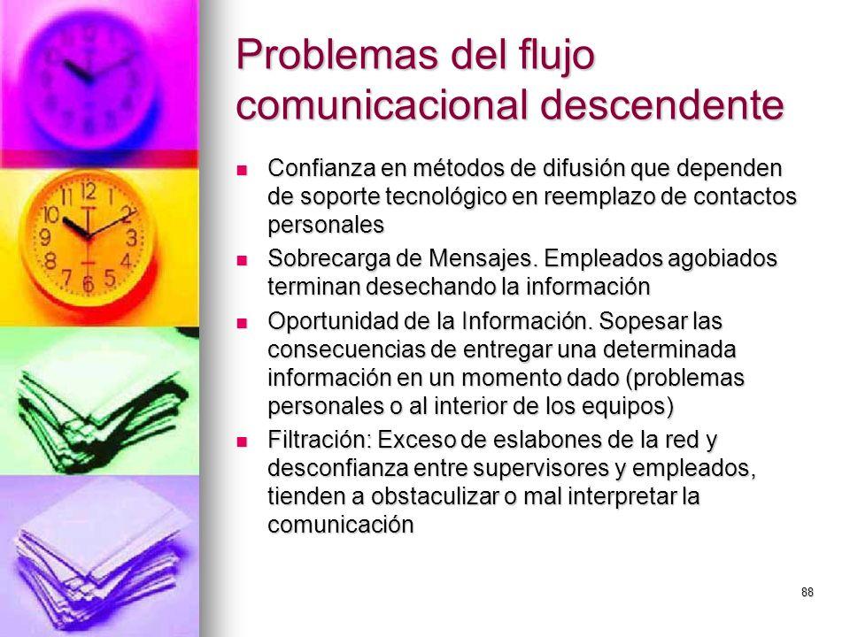 88 Problemas del flujo comunicacional descendente Confianza en métodos de difusión que dependen de soporte tecnológico en reemplazo de contactos perso