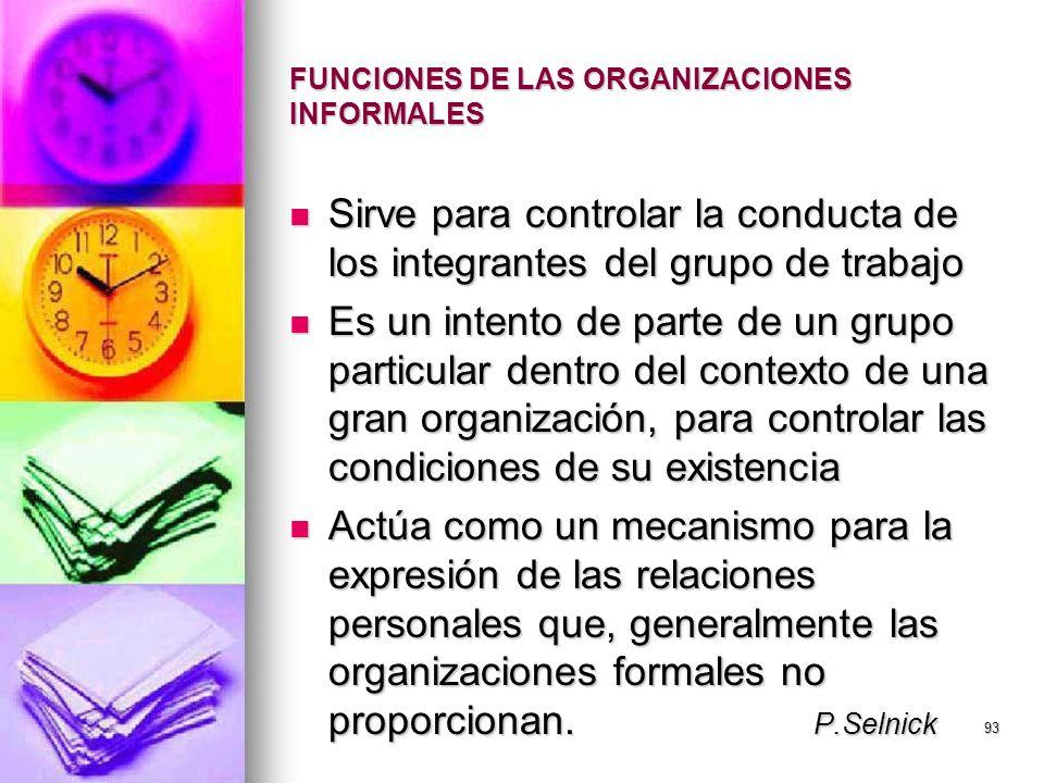 93 FUNCIONES DE LAS ORGANIZACIONES INFORMALES Sirve para controlar la conducta de los integrantes del grupo de trabajo Sirve para controlar la conduct