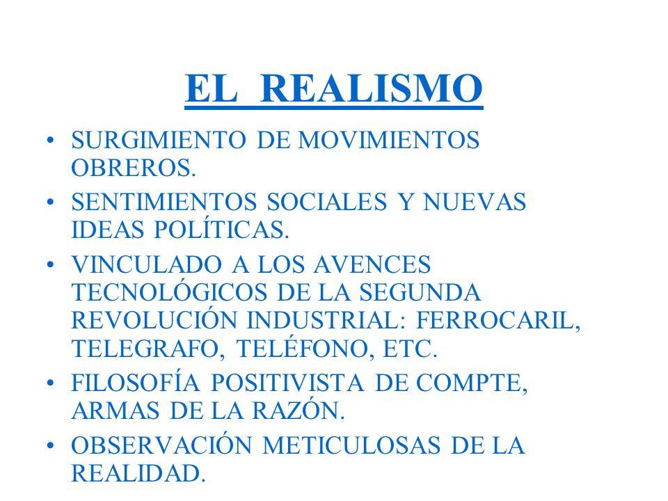 EL REALISMO SURGIMIENTO DE MOVIMIENTOS OBREROS.SENTIMIENTOS SOCIALES Y NUEVAS IDEAS POLÍTICAS.