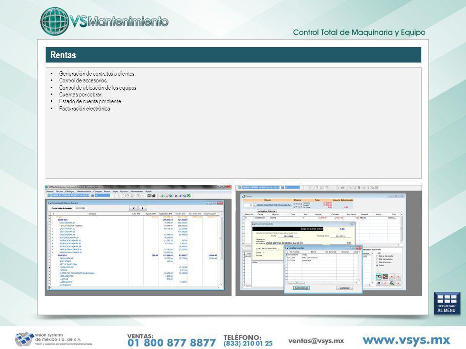 Rentas Generación de contratos a clientes. Control de accesorios. Control de ubicación de los equipos. Cuentas por cobrar. Estado de cuenta por client