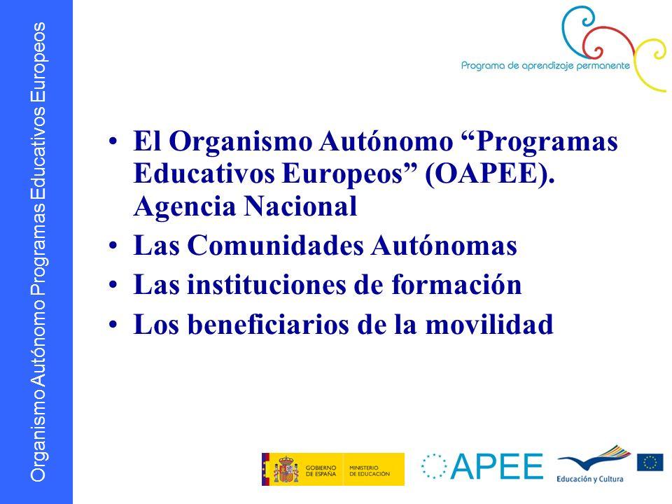 Organismo Autónomo Programas Educativos Europeos El Organismo Autónomo Programas Educativos Europeos (OAPEE). Agencia Nacional Las Comunidades Autónom