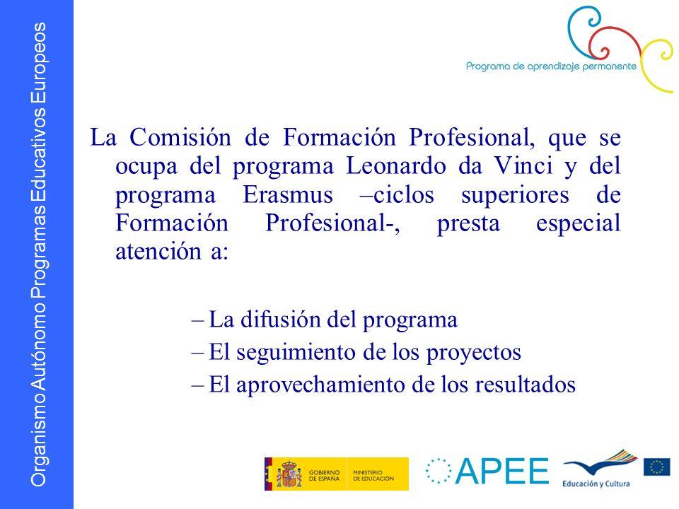 Organismo Autónomo Programas Educativos Europeos La Comisión de Formación Profesional, que se ocupa del programa Leonardo da Vinci y del programa Eras